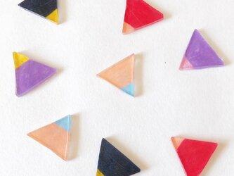 三角ピアス(バイカラー/4colors)/プラバンの画像