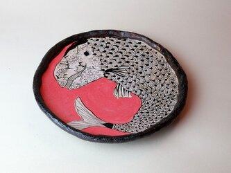大きな黒い魚の皿/ 瀬戸黒/ 色絵付け/ かわいい器 / 現代陶芸 /  愉しい食器 / 陶芸家つくる愉しい器の画像