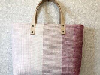 裂き織り 春~桜色ふた付ハンドバッグ(ヌメ革持ち手)の画像