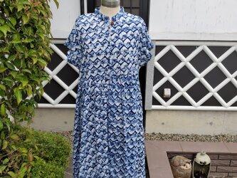 着物リメイク 手作り 有松絞り ワンピース 綿100%の画像
