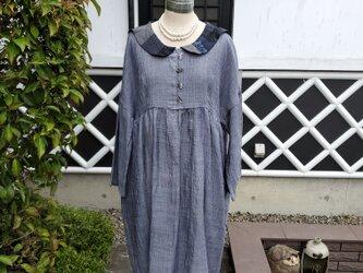 着物リメイク 手作り グレー色 小千谷 チビセーラー ワンピースの画像