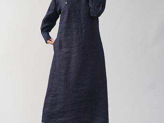 【wafu】中厚 斜めボタン ちびシャツ襟 ワンピース 伝統的スタイル カフス袖 タック袖/ネイビー a028h-neb2の画像