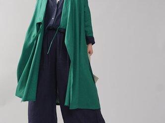【wafu】中厚 リネン 禅 羽織  着物 和装 襟 ローブ コート リネンコート/パリス・グリーン h037g-prg2の画像