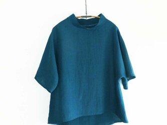 受注制作 linenプルオーバー Antique blue greenの画像