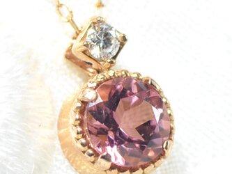 K18 ピンクトルマリン×ダイヤモンド ペンダント K18 ピンクゴールド クルール BV030の画像