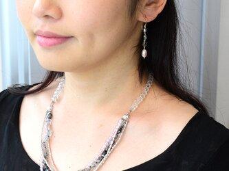 薄墨桜のネックレス(ブラックルチル、ローズクォーツ、淡水パール)の画像