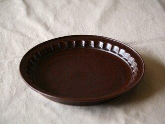 カフェブラウン釉しのぎリムプレート Mの画像