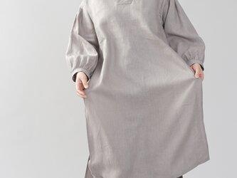 【wafu】中厚 リネン古来 ワンピース 着物襟 ドレス アジア 禅 サイドスリット/アッシュパール a084h-asp2の画像