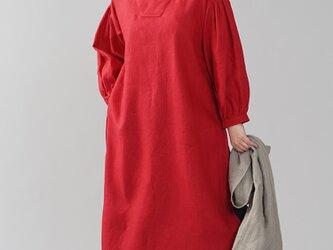 【wafu】中厚 リネン古来 ワンピース 着物襟 ドレス アジア 禅 サイドスリット/レッド a084h-red2の画像