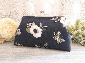 ◆アネモネのブーケがま口ポーチネイビー*花柄ケシ芥子旅行やプレゼントにの画像