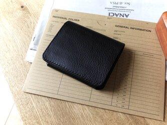 イタリア革の二つ折り財布/黒の画像