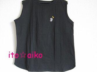 コットン100♪グレーの鳥とマスタードのリボン☆ノースリーブシャツ(クロ)の画像