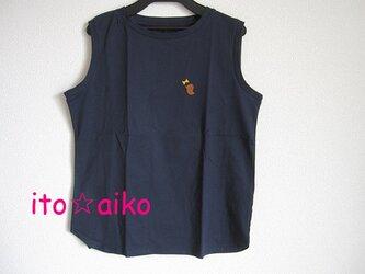コットン100♪ブラウンの鳥とマスタードのリボン☆ノースリーブシャツ(ネイビー)の画像