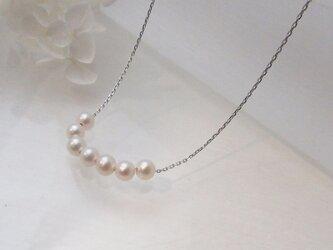 淡水真珠5mmスル―ネックレス(SVチェーン)N-12の画像