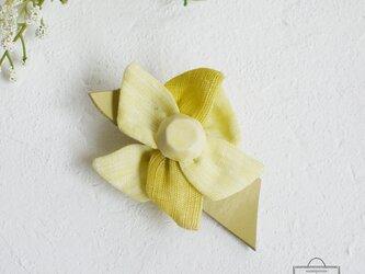 麻のブローチ 《 Jewel 》 Yellowの画像