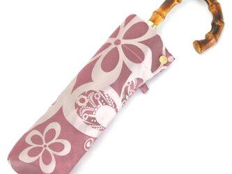 【晴雨兼用 折りたたみ傘】 kirie -蝶々- ワインレッドの画像