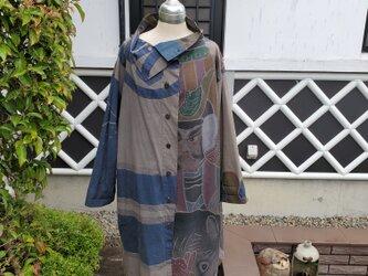 着物リメイク 手作り 柿渋 鉄焙煎染め コート の画像
