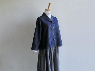 播州織コットン*へちまカラーのワッフル織ブラウスジャケットの画像