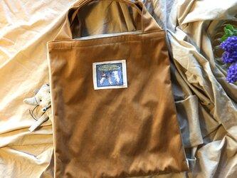オーバーラップエコバッグSサイズ キャメル&グレージュ(撥水加工のナイロンツイル)の画像