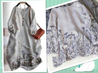 【春の福袋】ゆったり亜麻製刺繍トップス+亜麻製刺繍ワンピース 2点セットの福袋の画像