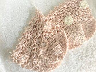 やわらかコットンレースの巾着・ピンクベージュの画像