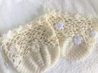 やわらかコットンレースの巾着・生成りの画像