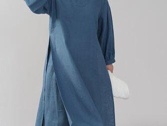 【wafu】中厚 リネン古来 ワンピース 着物襟 ドレス アジア 禅/ブルーパッセ a084h-bps2の画像