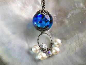 ネックレス ほたる玉 揺れる コットンパール とんぼ玉 16mm 光る ガラスビーズ 沖縄 琉球 工芸 ブルーの画像