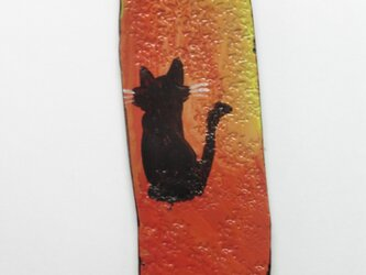 革のストラップ 猫③の画像