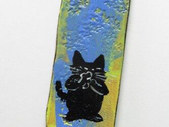 革のストラップ 猫⑥の画像