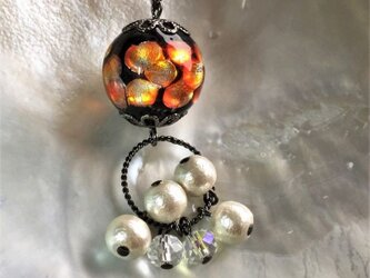 ネックレス ほたる玉 揺れる コットンパール とんぼ玉 16mm ガラスビーズ 沖縄 琉球 工芸 オレンジの画像