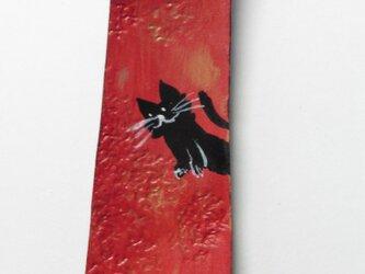 革のストラップ 猫⑪の画像