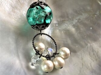ネックレス ほたる玉 揺れる コットンパール とんぼ玉 16mm ガラスビーズ 沖縄 琉球 工芸 エメラルドの画像