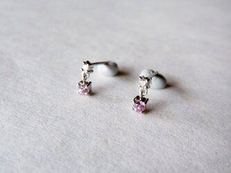 <訳あり>Pt900 メレダイヤとピンクサファイヤのピアス/0.01ct ×2の画像