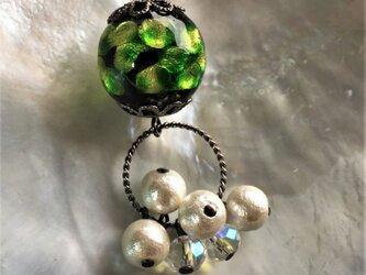 ネックレス ほたる玉 揺れる コットンパール とんぼ玉 16mm ガラスビーズ 沖縄 琉球 工芸 フォレストグリーンの画像