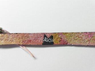 革のストラップ 猫⑰の画像