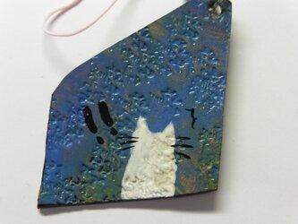 革のストラップ 猫⑳の画像