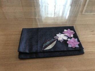 ヴィンテージ紬の懐紙入れ 紫陽花の画像