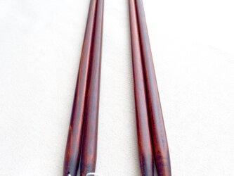 《期間限定・ラスト1セット》2膳セット 摺り漆のシンプル菜箸(糸付きと糸なし)の画像