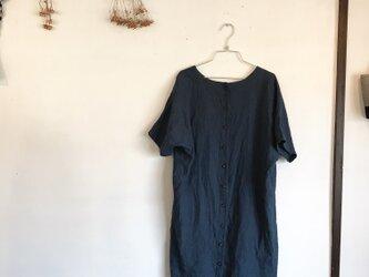 濃紺リネンのツーウェイワンピース(024)の画像