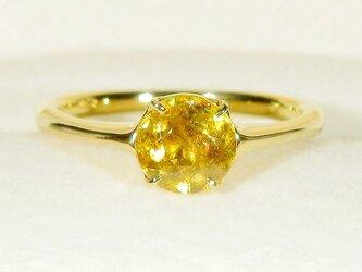 0.95ctスフェーンとSV925の指輪(リングサイズ:9号、K18イエローゴールドの厚メッキ、天然石)の画像