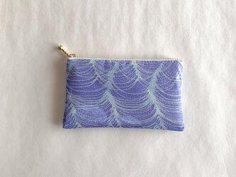 絹手染ポーチ(波・青系)の画像