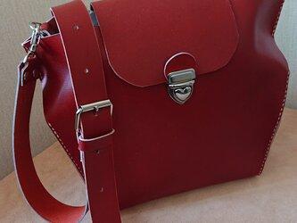 本革手縫い ショルダーバッグ(サイドしぼり赤茶色)の画像