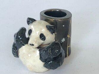 陶のスタンド「ころりんパンダ」の画像
