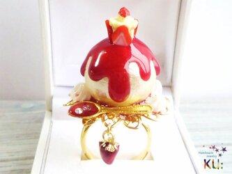 ◆NEW◆とろり苺コットンパール指輪◆カップイチゴケーキ◆の画像
