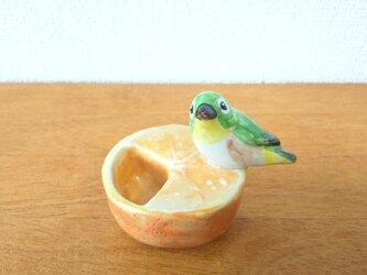印鑑スタンド メジロ&みかん(陶器)の画像
