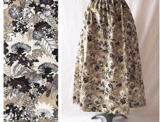 【ゆったりなのにすっきり】85cm:レクタングルスカート(ヨーロピアン:ヨーロピアン:ベージュ×ブラック)の画像