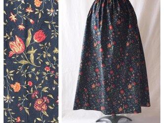 【ゆったりなのにすっきり】85cm:レクタングルスカート(ヨーロピアン:ヨーロピアン:濃ネイビー)の画像