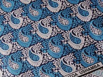 アフリカ布『カンガ』 セルリアンブルー ペイズリーの画像
