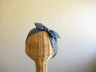 リボンのヘアバンド インディゴ、タイルの画像